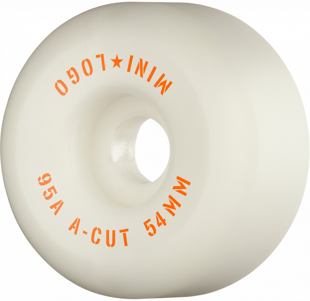 Mini Logo Skateboard Wheels Hybrid A-Cut 54mm 95A White 4pk
