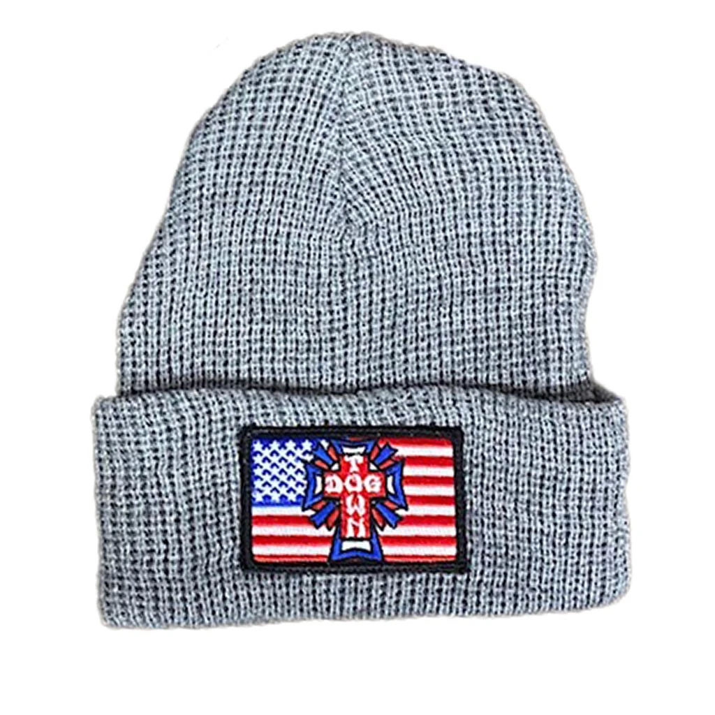 Dogtown Flag Patch Beanie (Heather Grey)