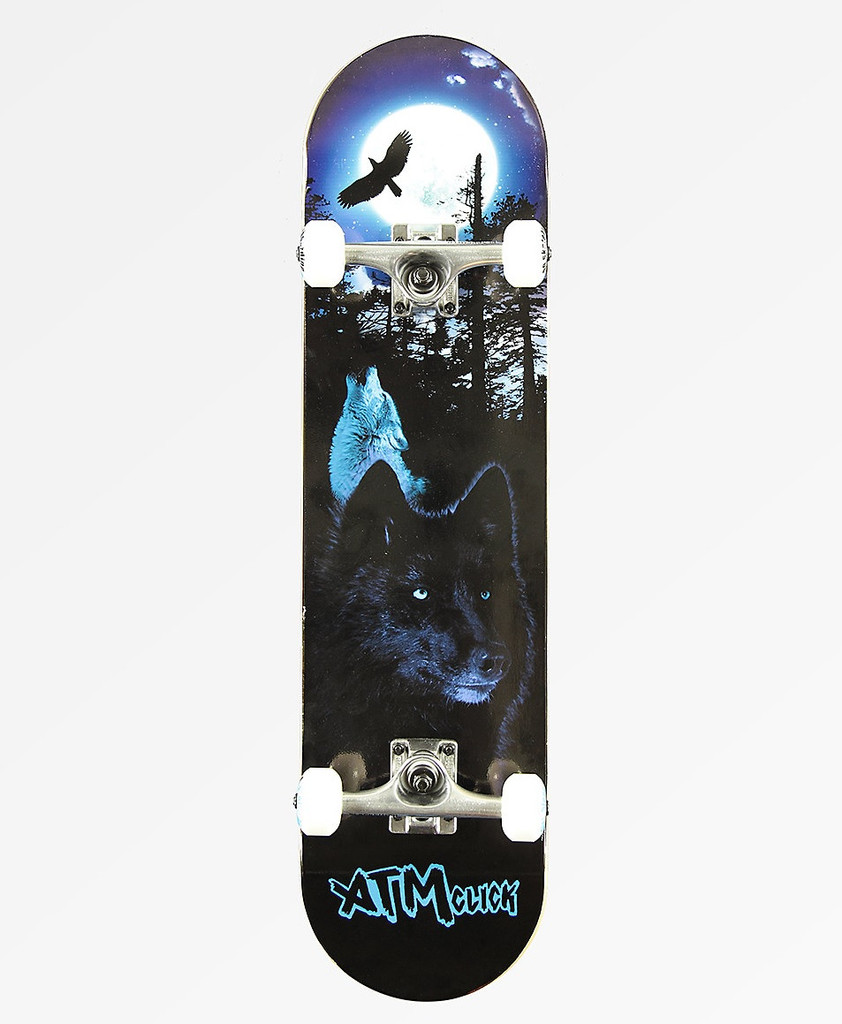 """ATM Wolves Complete Skateboard 8.0"""" FREE USA SHIPPING"""