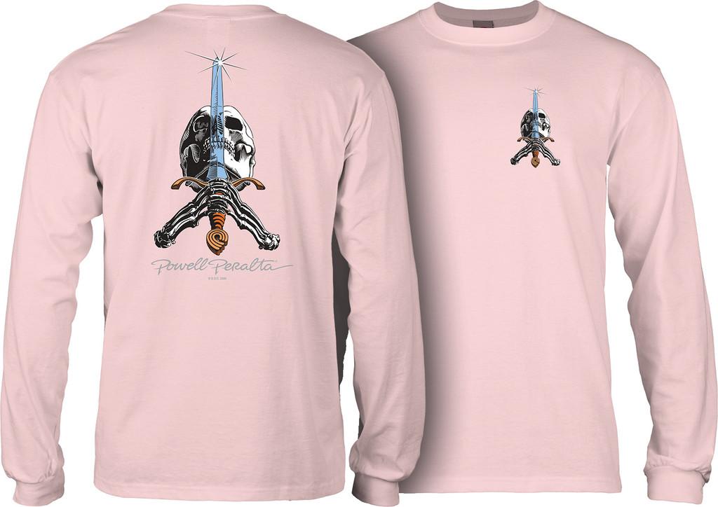 Powell Peralta Skull and Sword Long Sleeve Shirt (Lt. Pink)