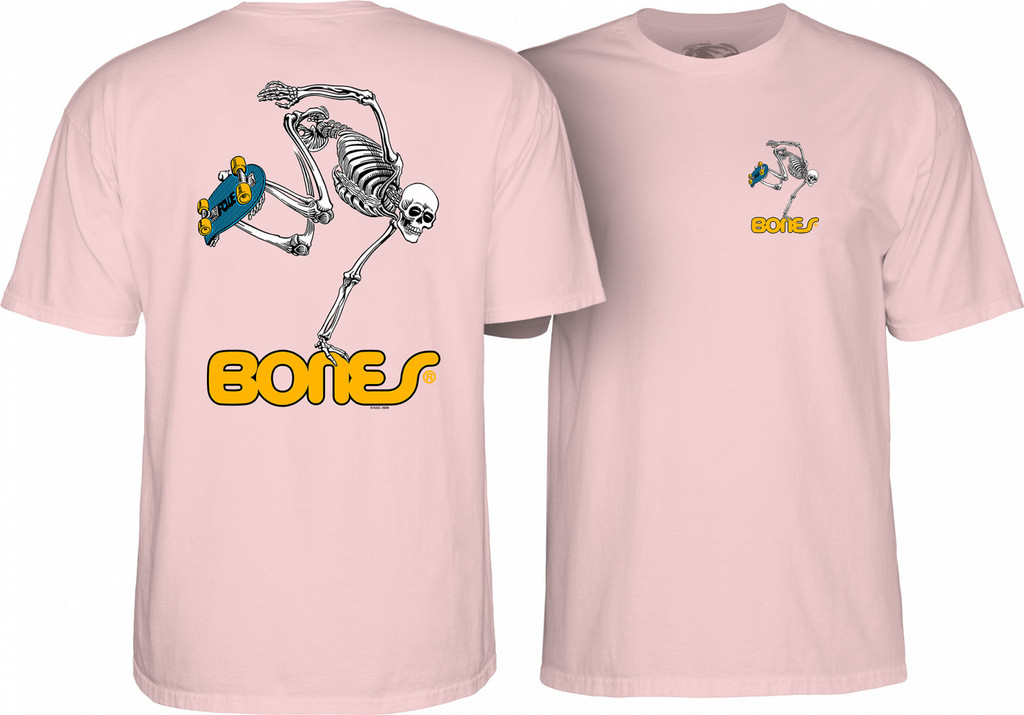 Powell Peralta Old School Skateboard Skeleton T-Shirt (Light Pink)