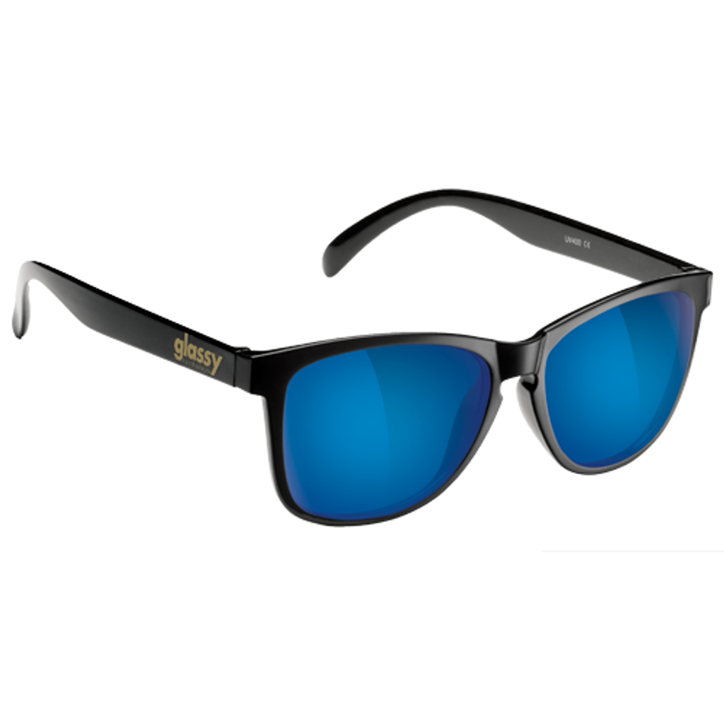 Glassy Deric Black & Blue Mirror Sunglasses