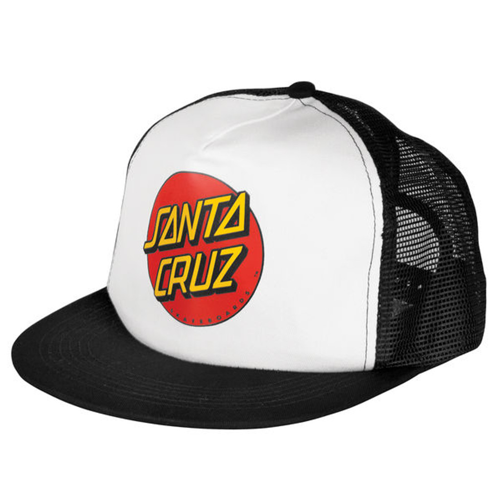 Santa Cruz Classic Dot Black / White Mesh Trucker Hat