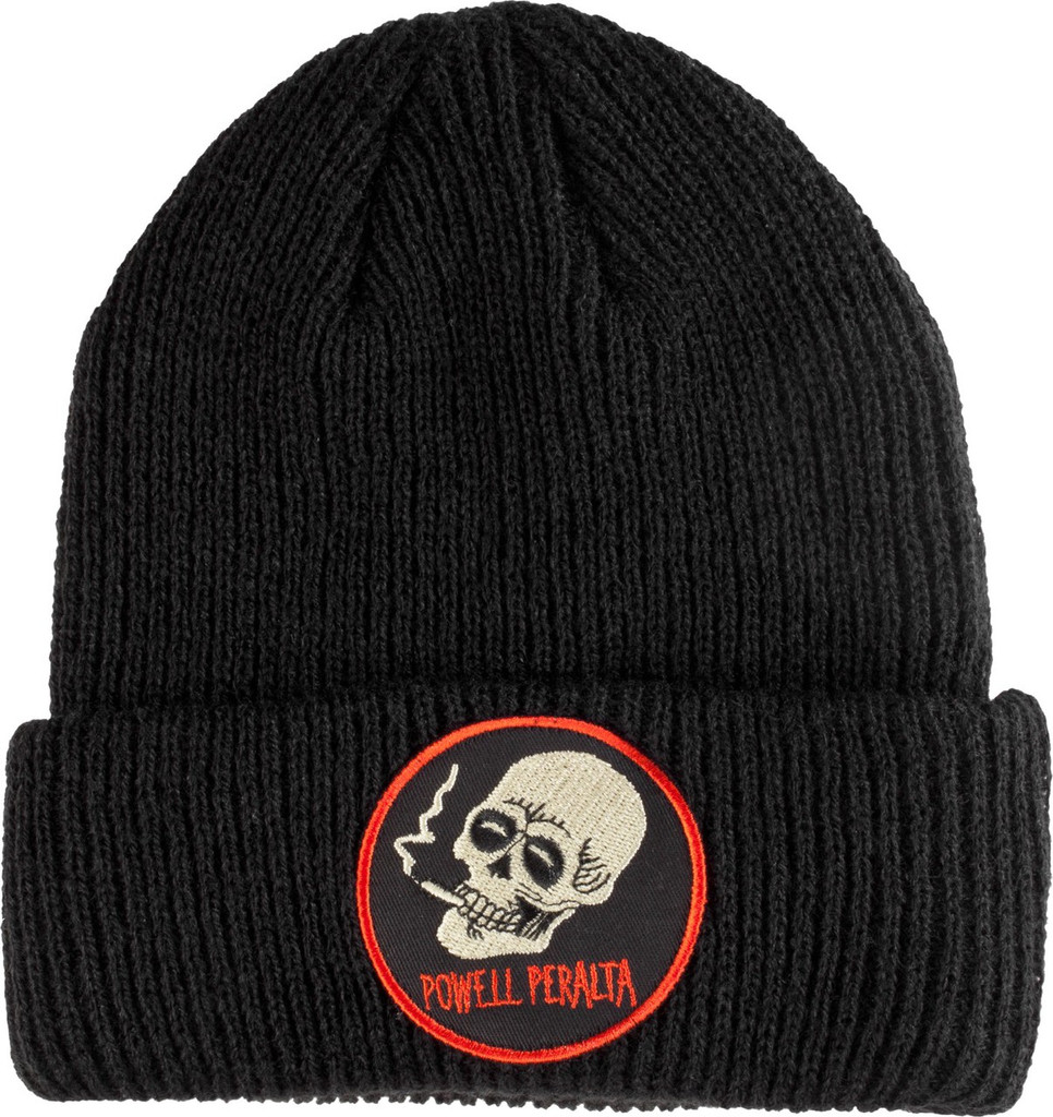 Powell Peralta Smoking Skull Cuff Beanie Black