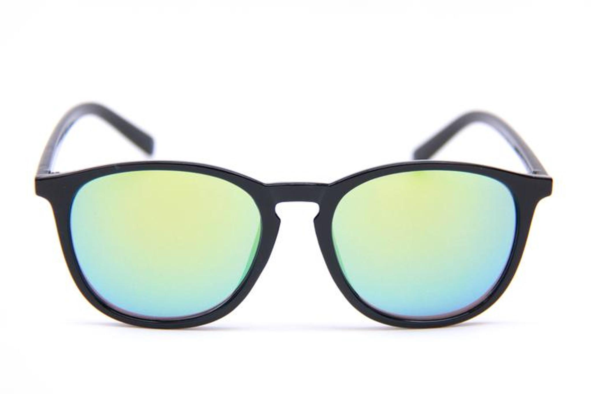 Happy Hour Flap Jacks Black Gloss Yellow Mirror Shades Sunglasses