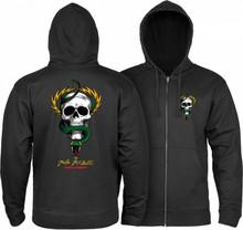 Powell Peralta Old School McGill Skull & Snake Hooded Zip Up Sweatshirt (Black)
