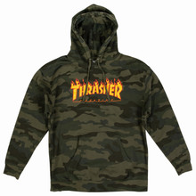 Thrasher Magazine Flame Pullover Hooded Sweatshirt (Forest Camo)