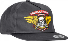 Powell Peralta Winged Ripper Snapback Hat (Charcoal)
