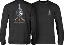 Powell Peralta Skull and Sword Long Sleeve Shirt (Charcoal Heather)