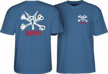Powell Peralta Old School Rat Bones T-Shirt (Slate Blue)