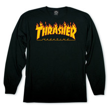 Thrasher Flame Logo Long Sleeve Shirt Black