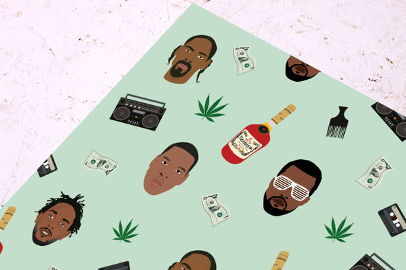 Rapping Paper- Celebrity Wrapping Paper- Presents-Fun-Rapper