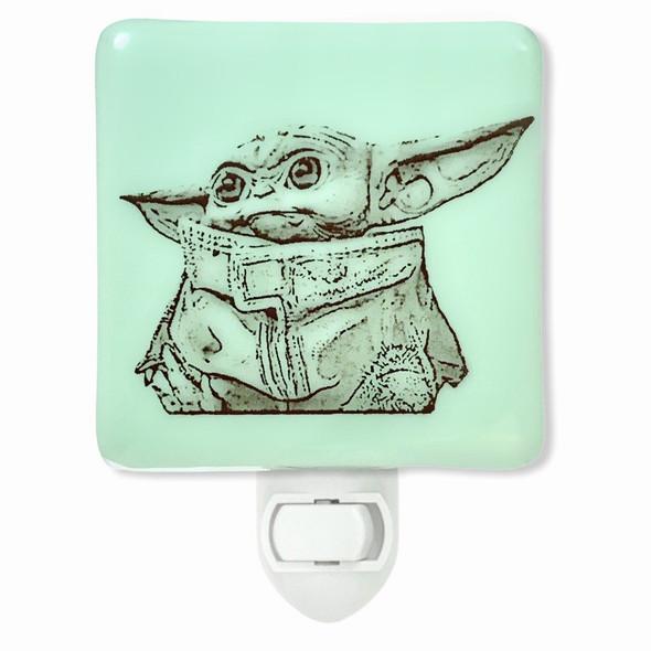 Star Wars - Baby Yoda Mandalorian Night Light - Mint Green Glass