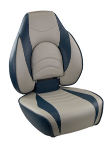 Springfield Marine | Fish Pro 1 - Highback Boat Seat | Gray with Navy Accents (1041631-1)