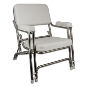 Springfield Marine | Classic Folding Deck Chair | White & Stainless Steel (1080021-SS)
