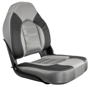 Springfield Marine | Skipper Premium | High Back Folding Boat Seat | Charcoal & Gray (1061063-B)
