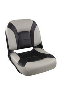 Springfield Marine | Skipper Premium | Low Back Folding Boat Seat | Gray & Black (1061077-1)