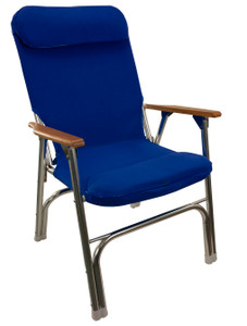 Springfield Marine | Premium Folding Deck Chair | Blue Canvas (1080120)