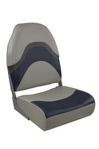 Springfield Marine | Premium Wave | Folding Boat Seat | Gray, Blue & Charcoal (1062031)