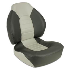 Springfield Marine | Fish Pro I - Mid Back Folding Boat Seat | Gray & Charcoal (1041733)