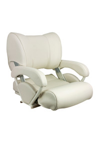 Springfield Marine® | Twin 46 Flip-Up Bolster / Lean-To Boat Seat / Fishing Chair | Off-White (1043001) - Side/Front View