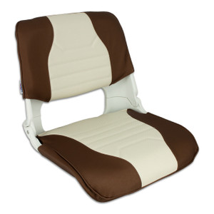 Springfield Marine   Skipper Fold Down Deluxe Chair with Cushions   Brown & Off White (1061045)