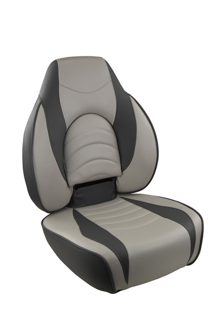 Springfield Marine | Fish Pro 1 - Highback Folding Boat Seat | Gray with Charcoal Accents (1041634-1)