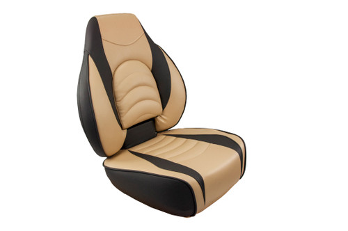 Springfield Marine   Fish Pro 1 - Highback Folding Boat Seat   Tan with Charcoal Accents (1041684-1)