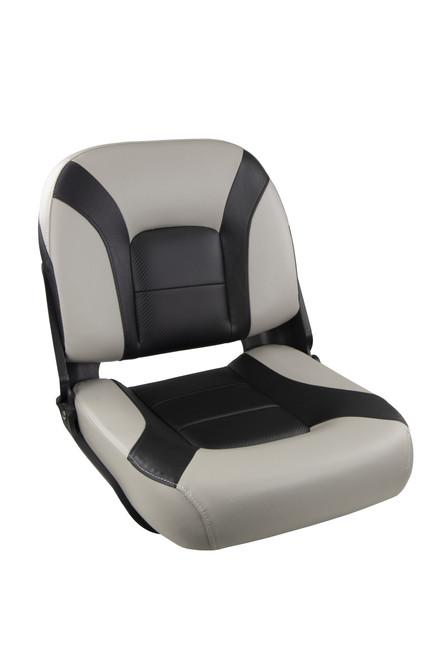 Springfield Marine | Skipper Premium | Low Back Folding Boat Seat | Gray & Black (1061077-1)
