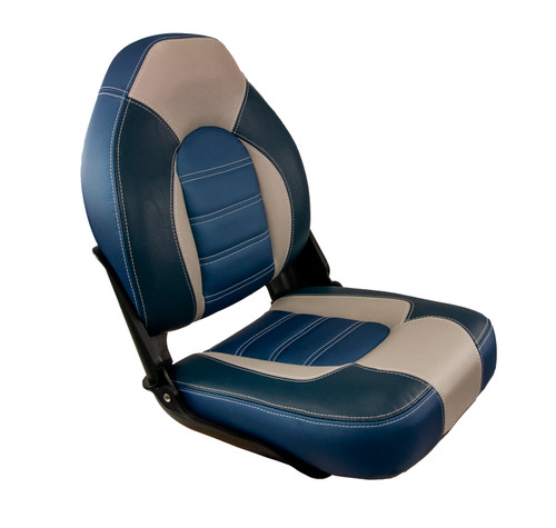 Springfield Marine | Skipper Premium | High Back Folding Boat Seat | Navy Blue & Gray (1061069-B)
