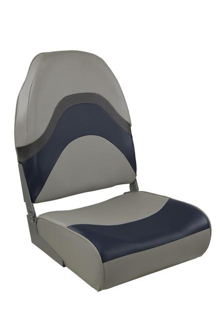 Springfield Marine   Premium Wave   Folding Boat Seat   Gray, Blue & Charcoal (1062031)