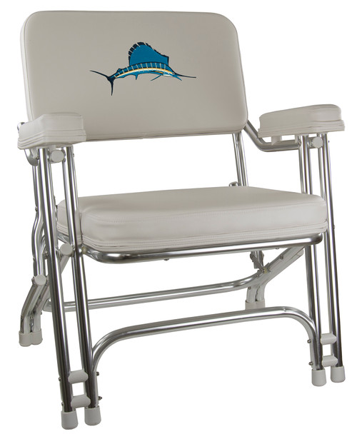 Springfield Marine   Classic Folding Deck Chair   Off White - Embroidered Sailfish (1080021-EMB)