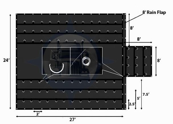24' x 27' x 8' Heavy Duty Lumber Tarp with 8 Ft. Drop