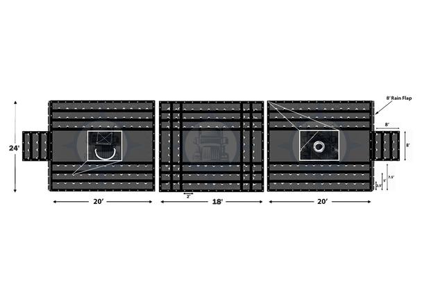 8' Drop Vinyl/Airbag Combo 3 Piece Set-(2) 24' x 20' with 8' Rain Flap-(1) 24' x 18'