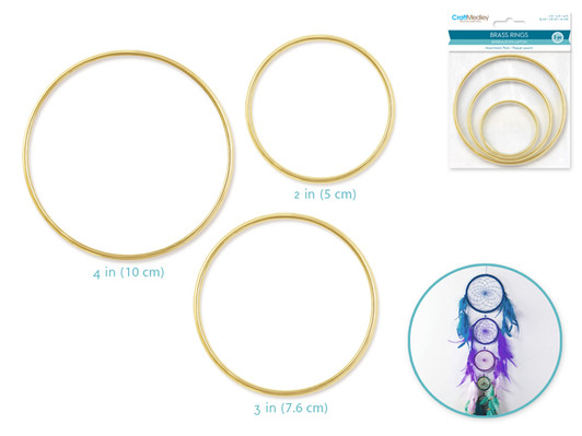 Craft Medley WR102 3 Piece Round Brass Rings 2.5