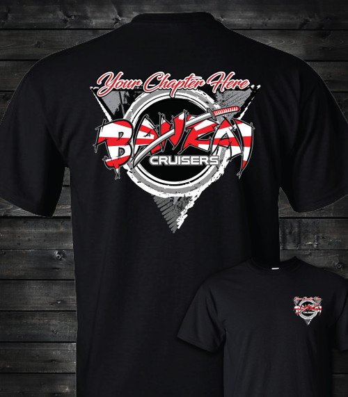 Banzai Cruisers T-shirt by Modified Custom Automotive Gear - Triangle Chapter Design Black