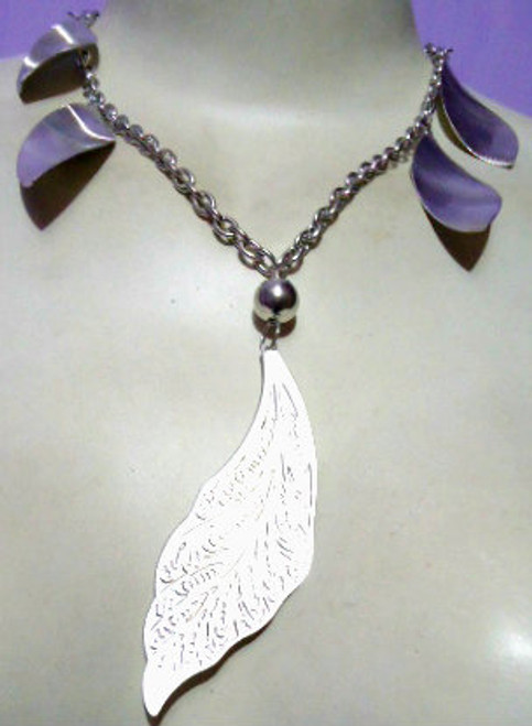"Silver Leaf Necklace  12-14"" silver leaf pendant necklace. Made in India."