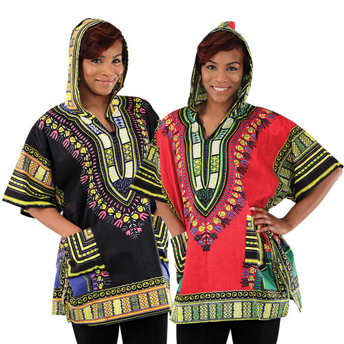"Hooded Traditional Print Dashiki Tops  Bring a bit of ethnic style to your day with these new dashikis with a hood. Each one pays homage to the African dashiki while being at an affordable price. One size fits most; 56-60"" chest and 31-36"" length. 100% cotton. Border colors may vary. Machine wash in cold water. Do not bleach. Iron if needed. Made in India."