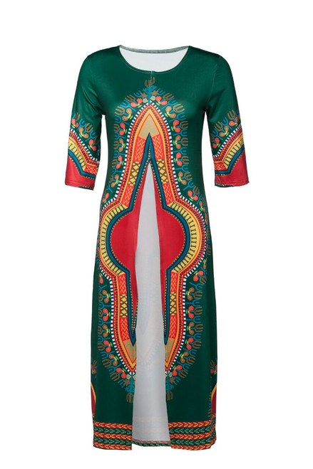 "Long Open Front Dashiki Top  Hunter Green open front long dashiki shirt; can be worn casually over leggings.  Fits up to a 32"" chest, length 42"""