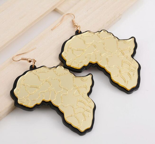 "Africa Mirror Map Earrings (Style #2)   Embrace your African pride with these glimmering earrings featuring the African continent. Each one measures 2.5"" long. Very reflective.  Earrings have black outline; acrylic material. Gold or Silver."