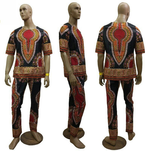 "Men's Dashiki Wax Pant Sets  Shirt fits up to a 50"" chest, pants length 40"", inseam 34"". Sizes XL & 2 XL. Colors: Black"