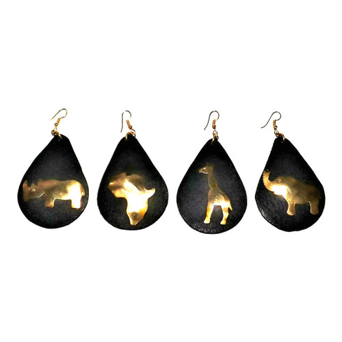 """Leather/Brass African Symbol Earrings  3"""" Hand made leather earrings; with brass African symbols. Choose from the Africa map, elephant, giraffe, rhino."""