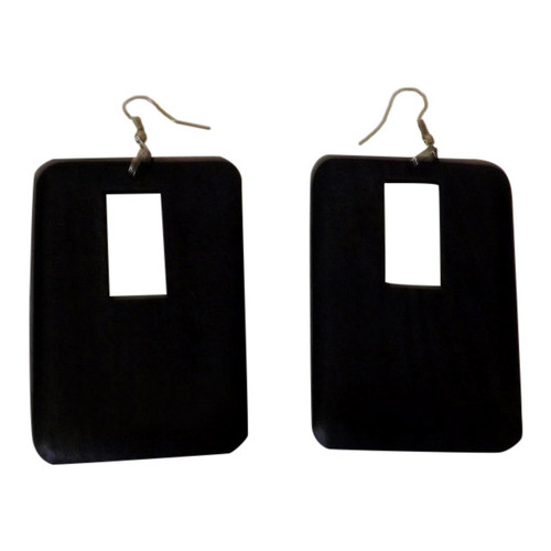 """3"""" Wooden Block Earrings  Simple and casual wooden earrings; block style; small cut-out design. Colors: Black, Brown, Green. Made in China."""