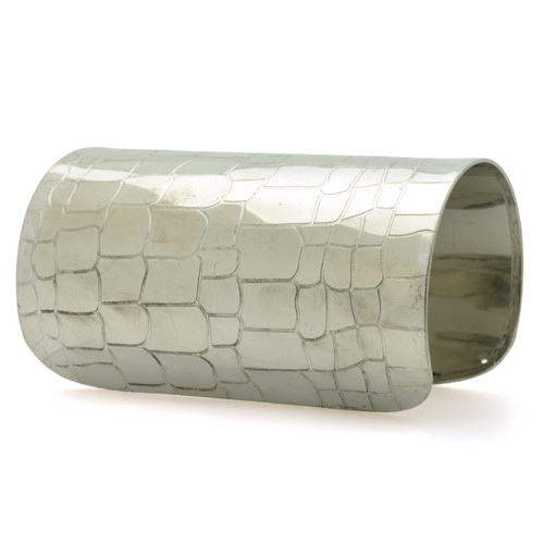 "4"" Silver Snake Skin Cuff Bracelet  4"" long snake skin print cuff bracelet; 6"" diameter; opening 1"". Material: Metal."