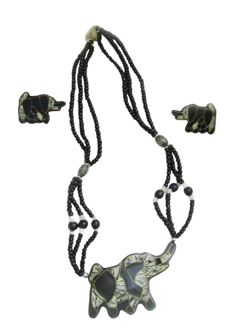 "Beaded Elephant Pendant Set Elephant pendant necklace set and earrings. Necklace is 20"" circumference, 4"" X 2 pendant, and 1"" earrings. Made in the Philippines."
