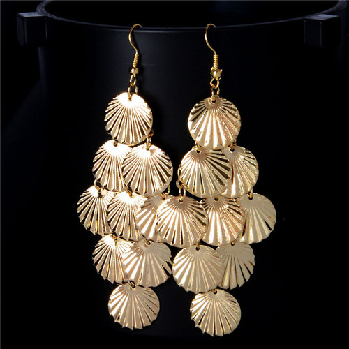 """Shimmery Seashell Dangling Earrings  Finish: Textured 3"""" with hook Material: 18K Gold Plated/Alloy Closure Style: Fish Hook Care and Cleaning: Wipe Clean"""