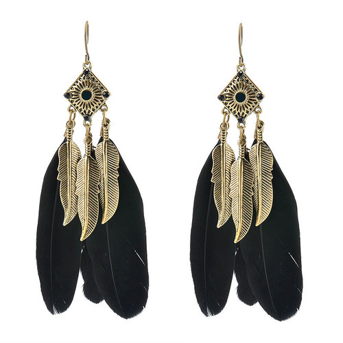 """3"""" feather earrings in turquoise or black; antique gold embellishment. Made in China."""