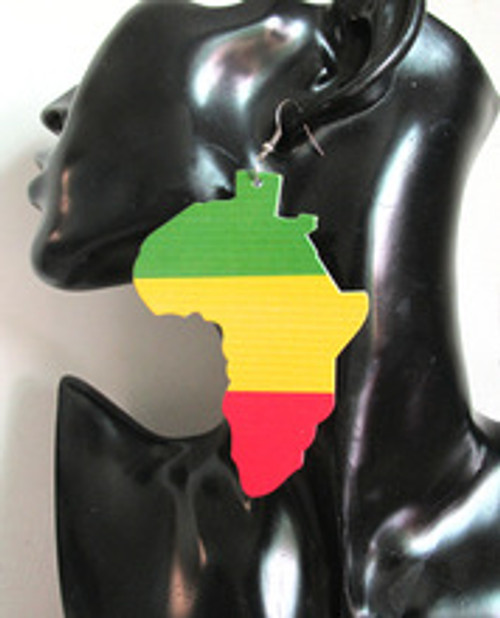 "Large Metal Africa Map/Rasta Earrings  4"" metal Africa map earrings; earrings are flat designed. Color on one side only."