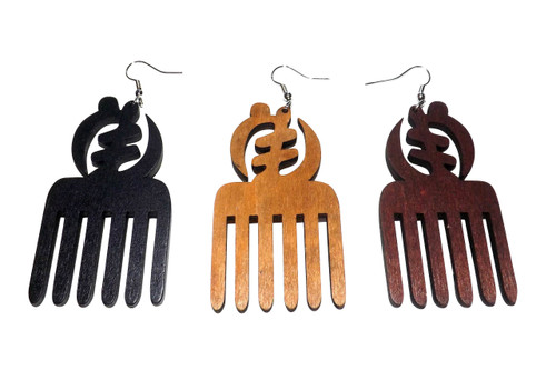 "Afro Pick & Gye Nyame Symbol  3.5"" Afro pick earrings with Gye Nyame symbols. Colors: Black, Dark Brown, Med. Brown. Made in China."