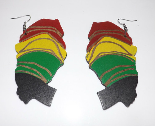 """Large Queen Empress Irie Wooden Earrings  Large empress irie wooden statement earrings. 4"""" length with hook; 1"""" wide. Made in China."""